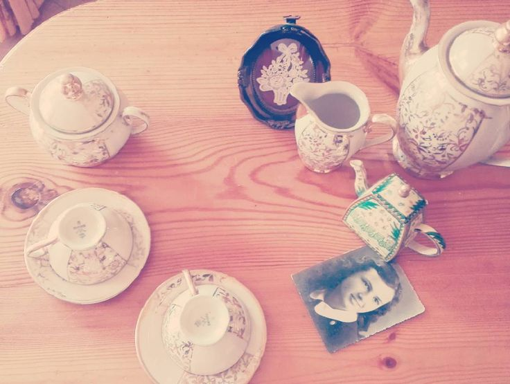 My grandmother photo and her tea cups #grandmather #vintage #tea #instagram #instanow #cups
