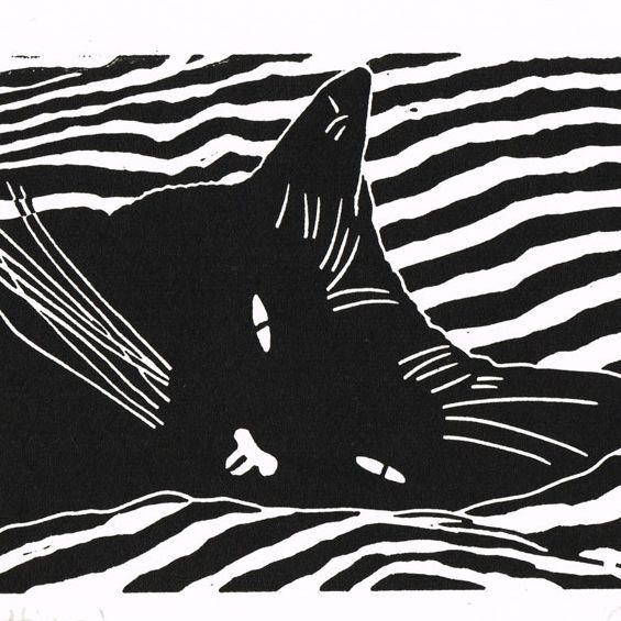 Cat - Black Cat Bedtime - Original Hand Pulled Linocut Print £28.00