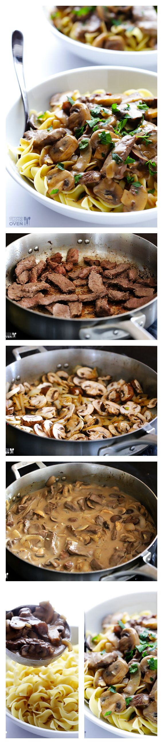 Beef Stroganoff -- a classic comfort food dish that's lightened up and ready to go in 30 minutes.