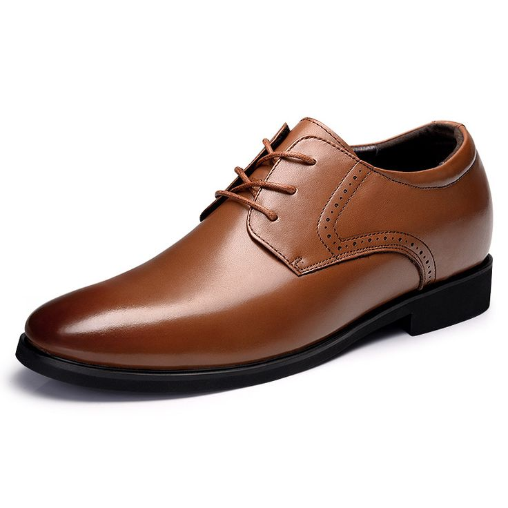 TopoutShoes - Trendy Taller Business Shoes Increase Height 2.6inch / 6.5cm Brown Formal Shoes