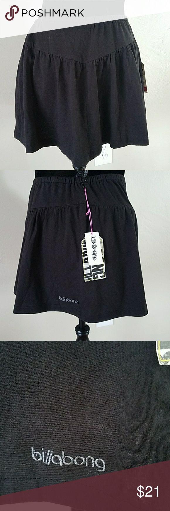 "Billabong Black Mini Skirt Billabong Black 100% Cotton Mini Skirt Womens size Medium All measurements are approximate and taken flat  Waist 13"" Length 12"" Small hole near tag attachment. Not noticeable when worn Billabong Skirts Mini"