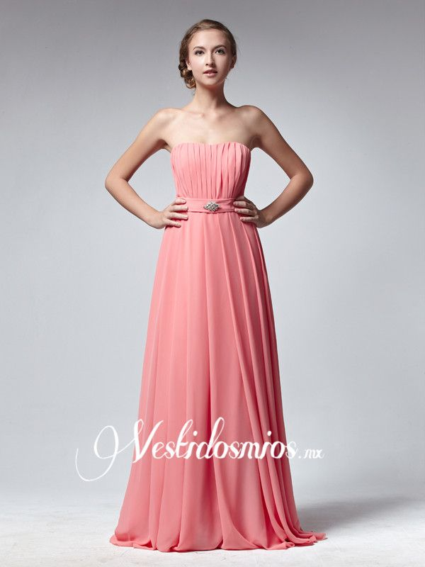 Chiffon Sencillo Largo Vestido de Damas de Honor VP127 [VP127] - Mex$2,984