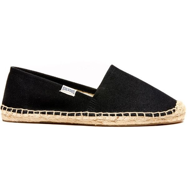 Soludos Original Canvas Dali Canvas Espadrille (£32) ❤ liked on Polyvore featuring shoes, sandals, flats, black, espadrilles, black canvas shoes, canvas flats, espadrille flats, black sandals and flat pumps