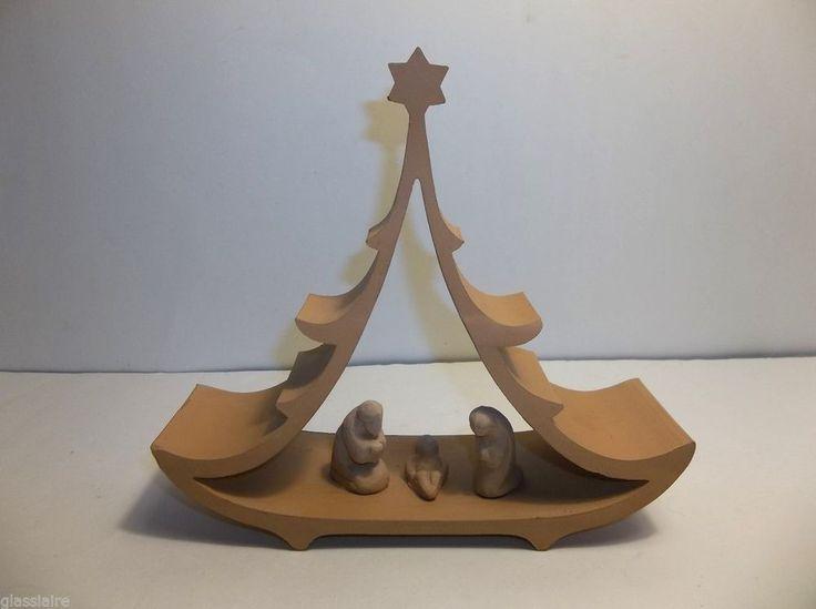 """Vintage Clay Pottery NATIVITY CHRISTMAS TREE Creche BABY JESUS Mary Joseph 7"""" #CRECHE#NATIVITY"""