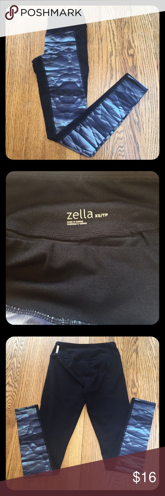 Leggings w/key pocket! Zella Live-In Leggings. Black with blue pattern. Size XS. Zella Live-In Leggings run large, I wear a size 27/size 4 and XS Zellas fit me perfectly. Good used condition! No holes/flaws. See photos for close ups! FYI: the designer of Zella for Nordstrom used to design for Lululemon, that's why they look so similar! 😊**Not Lululemon, just tagged for exposure**❤ please let me know if you have any questions! thanks for looking!😊 lululemon athletica Pants Leggings