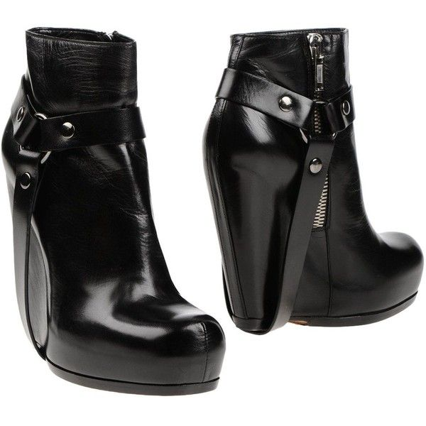 Rick Owens Ankle Boots ($710) ❤ liked on Polyvore featuring shoes, boots, ankle booties, black, ankle boots, black wedge boots, black leather ankle booties, black wedge booties and wedge ankle boots