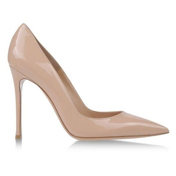 Gianvito Rossi Nude Patent Leather Pump ($660) ❤ liked on Polyvore featuring shoes, pumps, heels, neutrals, patent leather pumps, patent pointed toe pumps, patent pumps, nude patent leather pumps and nude patent leather shoes
