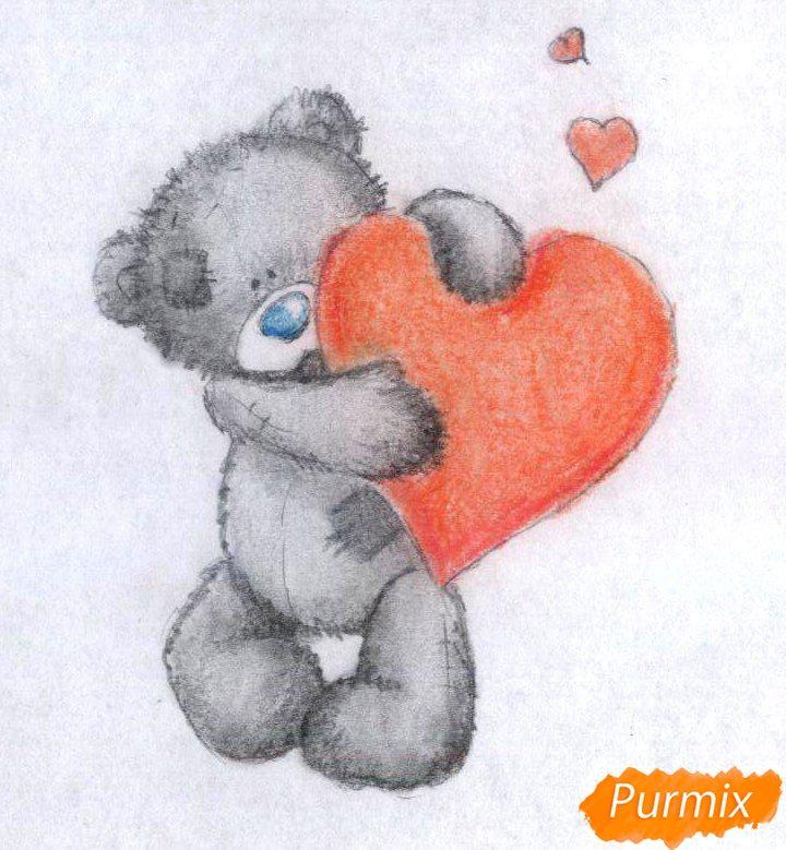 Рисуем тедди с сердечком на День святого Валентина цветными карандашами - шаг 4