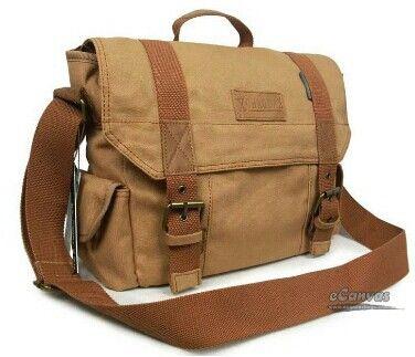 Brown khaki messenger bag.