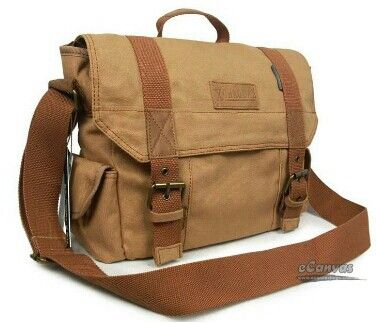Brown khaki messenger bag.