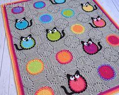 CROCHET patrones gato amante manta forma gato por TheHatandI