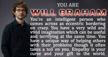 which Hannibal character are you? I got Will