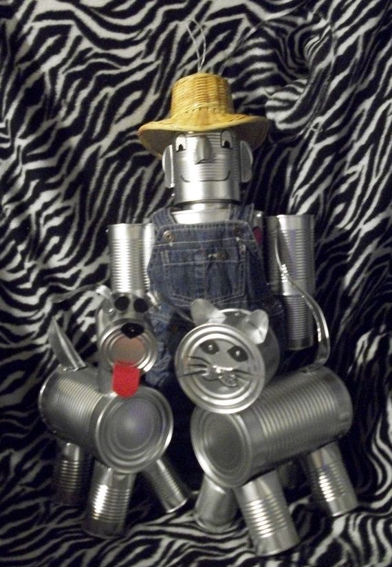 3 Items 1 Dog 1 Cat 1 Tin Man  Hand Crafted Original Tin Can Man (The Wizard Of Oz)