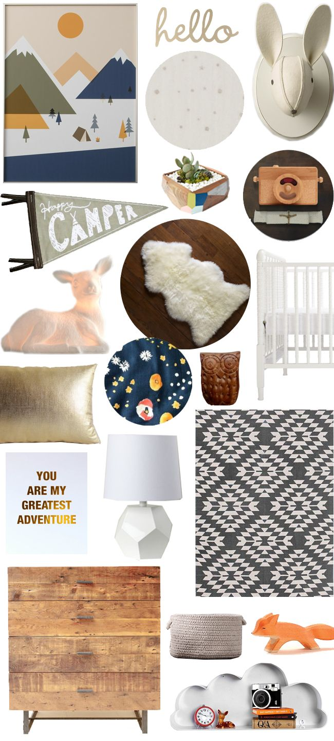 Some of this is a bit cheesy, but I love the dark blue starry print imposed with the neutral gray rug and the whites and woods    http://www.houzz.com/ideabooks/27302123  A Girly Glamping Nursery - A Lovely Lark