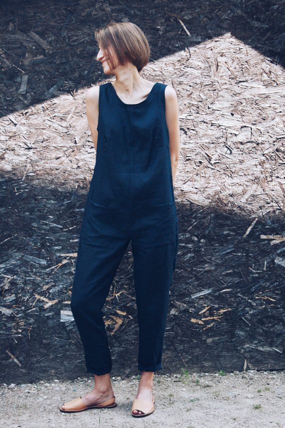Navy blue linen jumpsuit. -------------------------------------------------------------------------------------------------------- ABOUT: This handmade linen overall is very comfortable and has a minimalist look. Made from locally manufactured prewashed linen fabric and is perfect for all