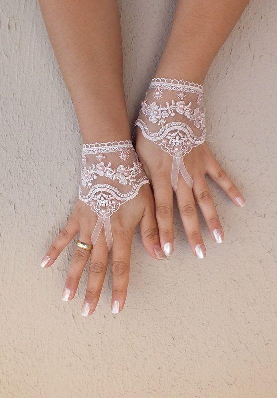 Pembe dantel eldiven Açık bej, fildişi, pembe, siyah gelinlik eldiven dantel eldiven boncuklu inci ve yapay elmas ücretsiz gemi Parmaksız