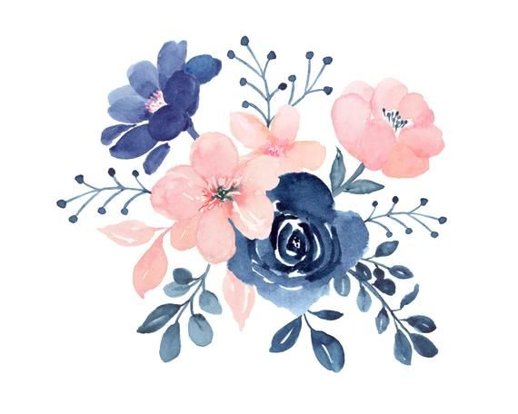 Blush Navy Flowers Nine Designs Floral Topper Border And