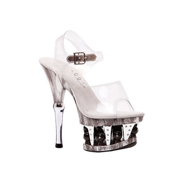 Women's Ellie Brook-629 ($56) ❤ liked on Polyvore featuring shoes, sandals, stripper shoes, casual, casual shoes, none, clear plastic sandals, platform sandals, sexy sandals and high heels sandals