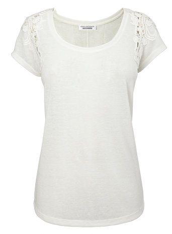 Ivory Short Sleeve Linen Cutwork Top - tops & t-shirts - Women Bhs