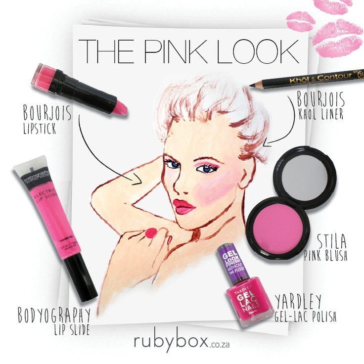 Pink lip: http://rubybox.co.za/shop/makeup/lips/rouge-edition-lipstick-in-rose-studio.html?utm_source=pinterest.com_medium=shop+the+look_campaign=bourjois+pink+lip lipgloss:http://rubybox.co.za/shop/makeup/lips/lip-gloss/electric-lip-slides-in-cheeky-baby.html?utm_source=pinterest.com_medium=shop+the+look_campaign=bodyorgraphy+lip+glide