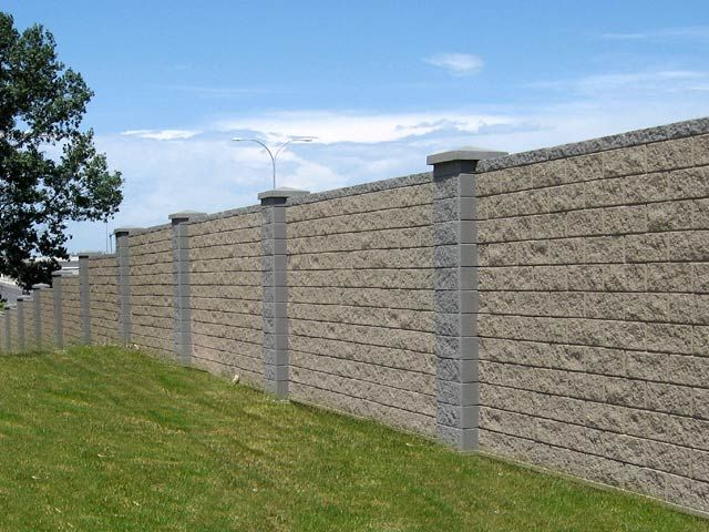 split face concrete block wall fenceing and gates block fence replacement with precast block fence - Cinder Block Wall Design