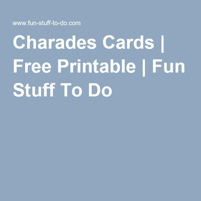 Charades Cards | Free Printable | Fun Stuff To Do