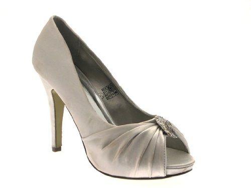 NEW WOMENS SATIN DIAMANTE BROACH BRIDAL WEDDING PEEP TOE STILETTO SHOES LADIES SIZES 3 - 8: Amazon.co.uk: Shoes & Bags