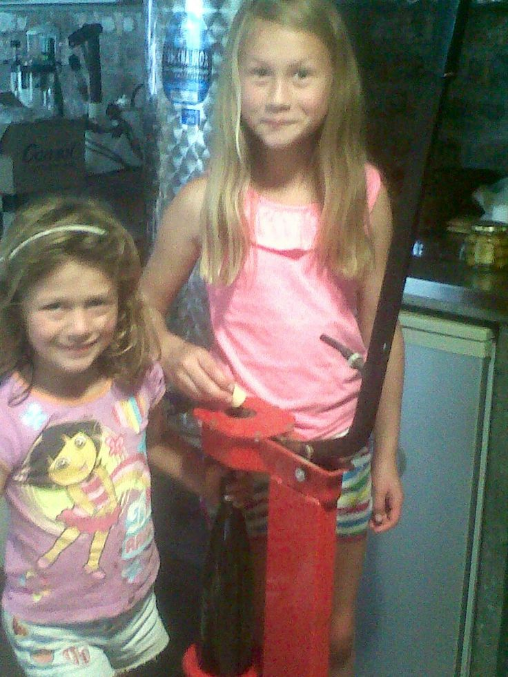 Bottling the olive oil with Emma and Yana