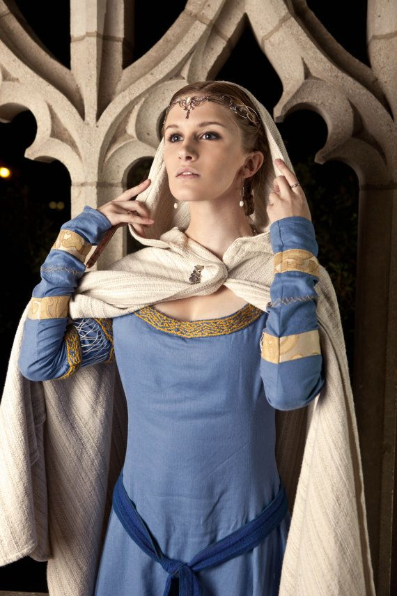 Blue Linen Medieval Gown/Rowena Ravenclaw Gown / RUSH SHIPPING