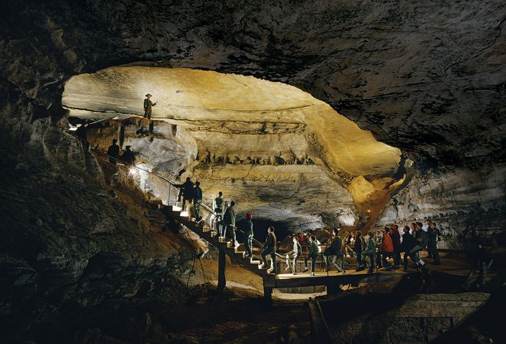 Picture of a park ranger gives a cave tour to boy scouts in Mammoth Cave National Park, Kentucky