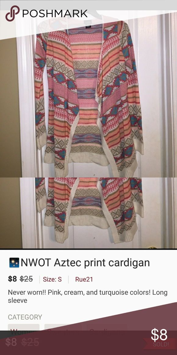 NWOT!! Aztec print cardigan Pink, cream and turquouse colors.....never worn Rue 21 Sweaters Cardigans