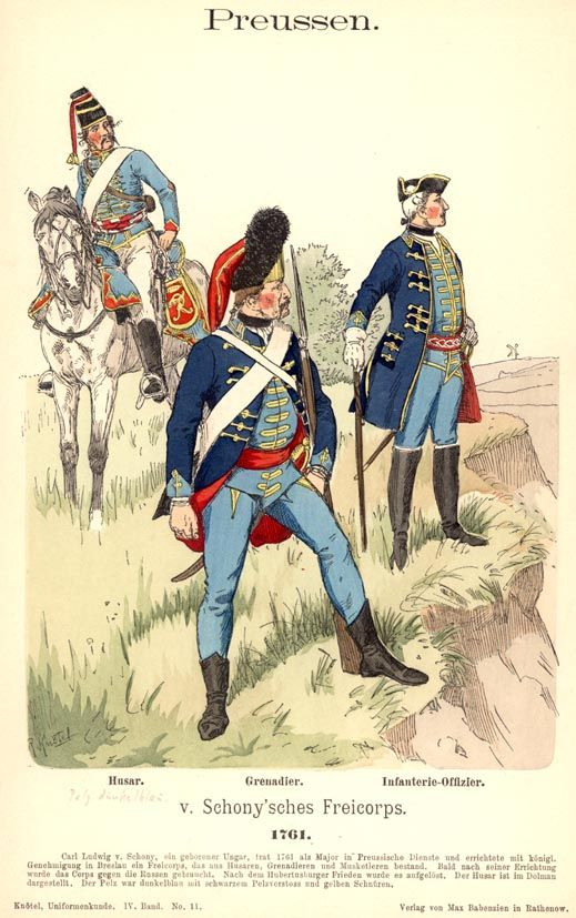 Preußen. Von Schony'sches Freikorps. 1761, by Richard Knötel.