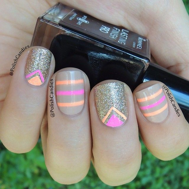 instagram @polishcandies | neon & nude #nailart Colors used:  @chinaglazeofficial bottoms up, sun of a peach and I'm not a lion.    @Essie Martin Martin Martin Martin Martin Martin Martin brooch the subject