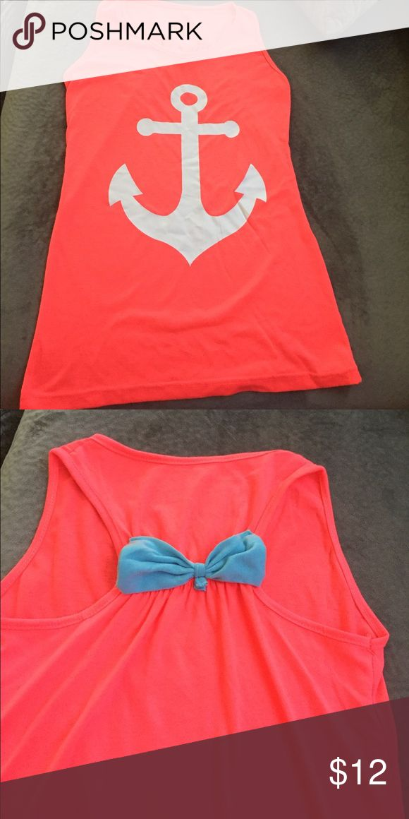 Anchor racerback tank top Hot pink racerback tank top with white anchor. Baby blue bow on back. Tops Tank Tops