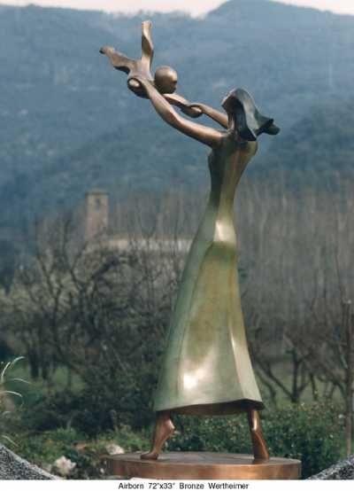 Bronze Couples or Group #sculpture by #sculptor Esther Wertheimer titled: 'Airborn' #art