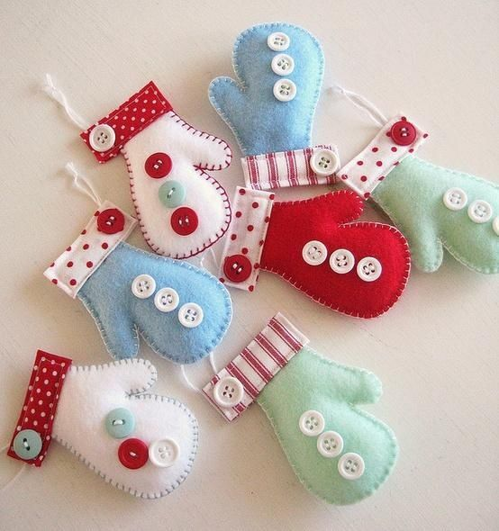 Christmas felt crafts | Christmas mitten felt ornaments | craft - felt