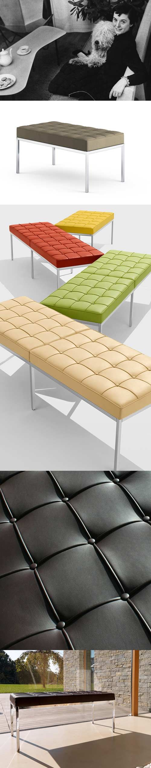 Florence Knoll Bench -1954 Consistent with all of her designs, Florence Knoll's Bench has a spare, geometric profile that reflects the rational design approach Florence learned from her mentor, Mies van der Rohe. #style and #design by #Knoll - http://www.knoll.com/product/florence-knoll-bench