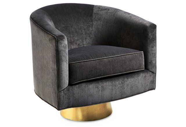 Hollings Striated Velvet Chair, Charcoal