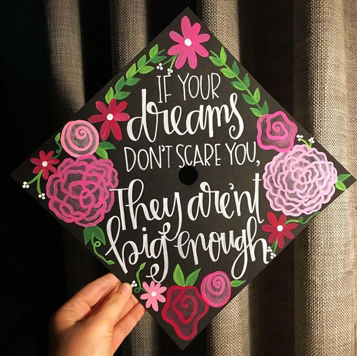 Custom hand painted graduation cap topper | Graduation cap ideas | Floral Grad Cap