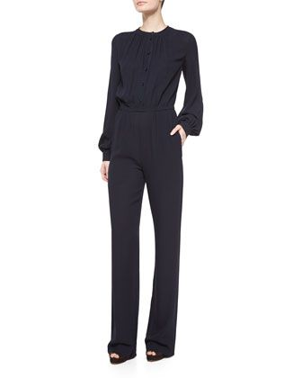 This one may need some alterations.  Long-Sleeve Pleated-Front Jumpsuit, Navy by Michael Kors at Neiman Marcus.