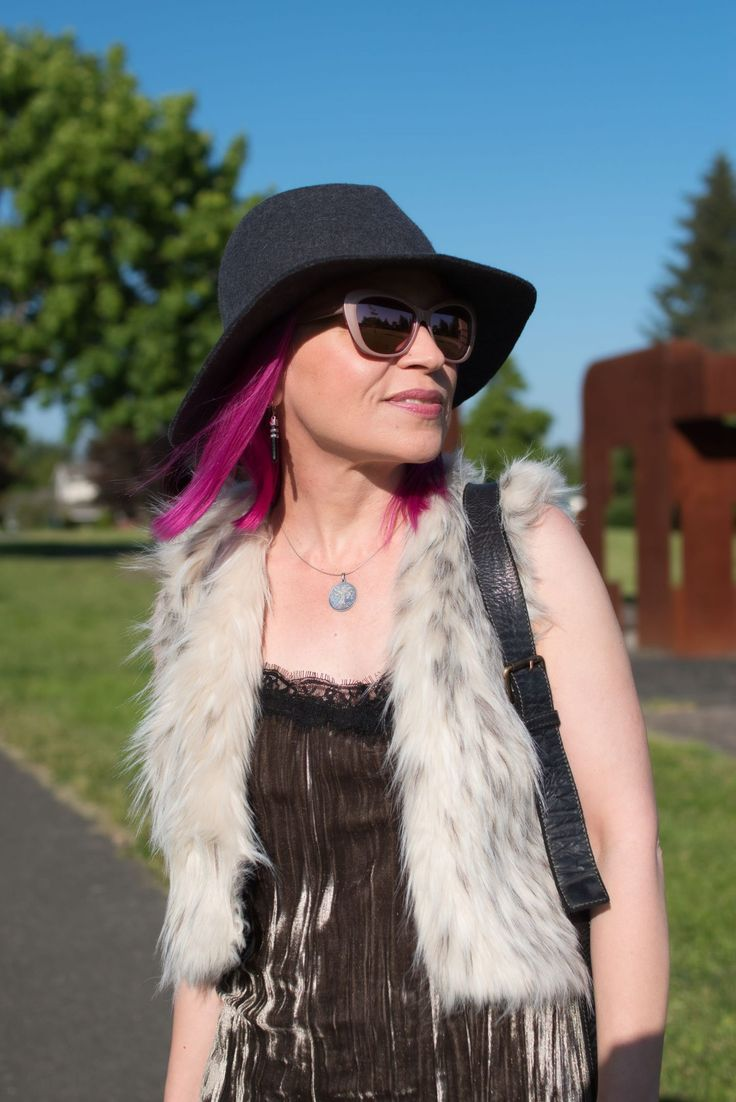 Boho bliss: how to be hippie-chic in a velvet slip dress, furry vest, and floppy felt hat