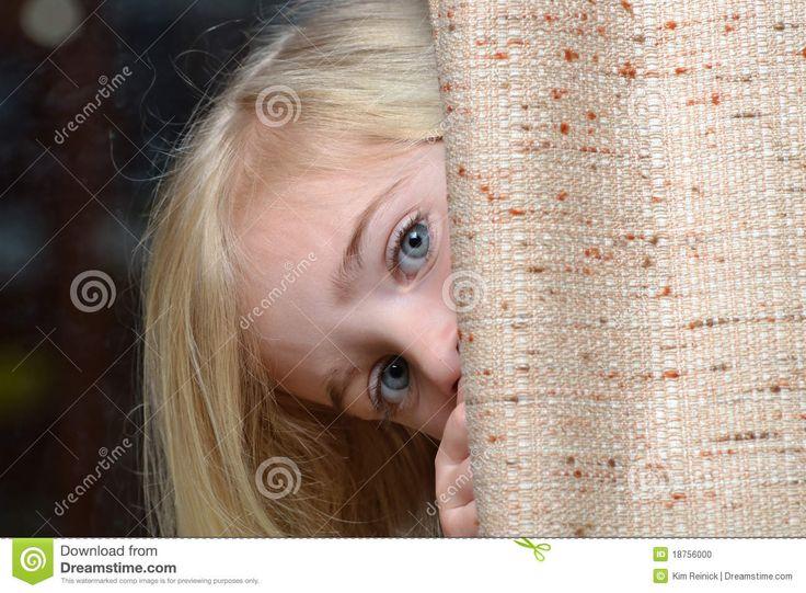Child hiding behind a curtain | Camera Shy | Pinterest