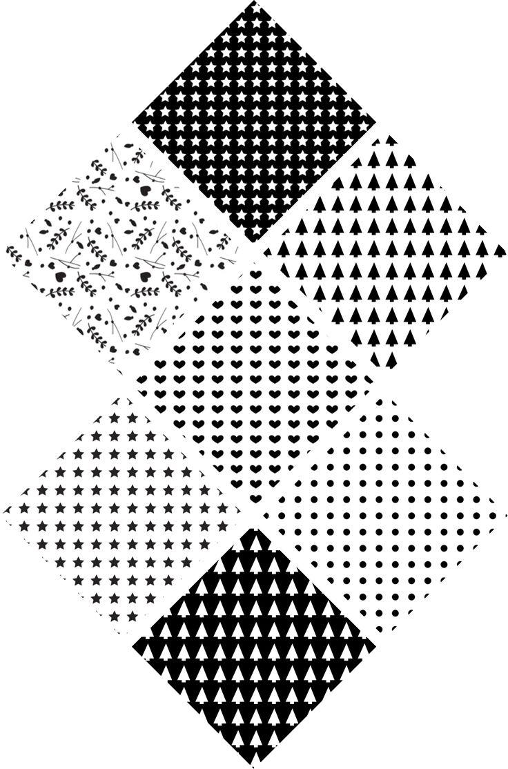 Pour commencer cette dernière semaine avant Noël en douceur, je vous propose aujourd'hui des petits motifs à télécharger graphiques noir et blanc. Il sont parfaits pour emballer des petits cadeaux....
