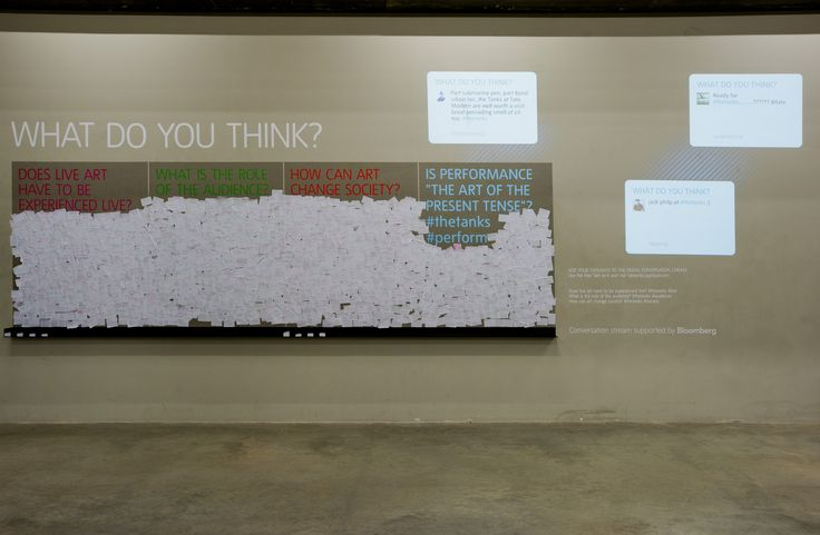 "Comments Wall in The Tanks for Big Data displays tweets from visitors also collected for ""sentiment analysis"""