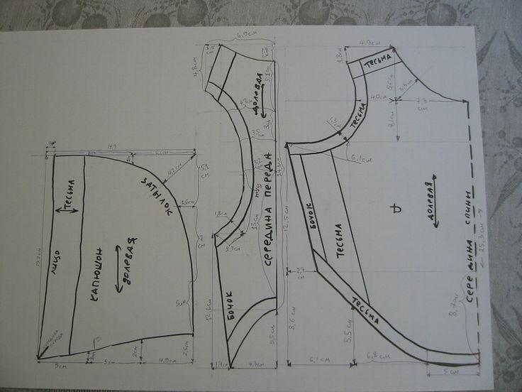Исходный материал - старая драная местами детская фуфайка (линейка - 40 см): Исходная выкройка, расчитана на таксу с обхватами шеи - 27, груди - 42, пузика - 34, длина…