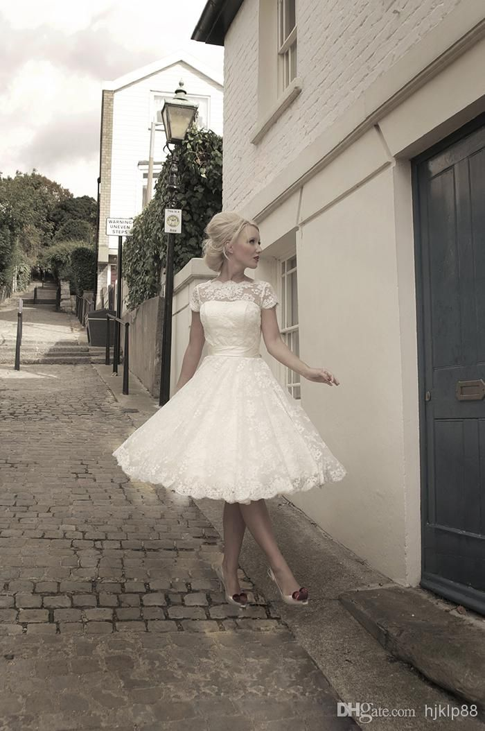 Wholesale Ball Gown Wedding Dresses - Buy 2014 New Vintage Bateau Neck Sheer Short Sleeves Knee-Length Lace Wedding Dresses Tea Length Butto...
