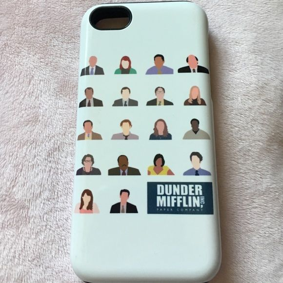 The Office iPhone 5c case! This is an iPhone 5c case with cartoons of the characters from The Office on it. This case is in great shape. It is a custom graphic that I originally ordered online. It is a fairly protective case. There is an outer plastic shell and an inner silicone protective layer. I dropped my phone many of times with this case on, and it never broke. Cannot guarantee it will 100% protect your phone, but I think it's fairly protective. RedBubble Accessories Phone Cases