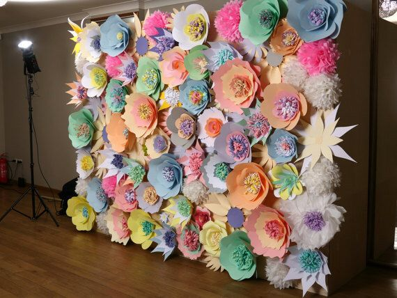 Paper flower wall, Wedding backdrop, Paper flower backdrop, Large flower wall, Flower wall decor, Photo booth, Photography backdrop by Needlejob on Etsy https://www.etsy.com/listing/289747729/paper-flower-wall-wedding-backdrop-paper