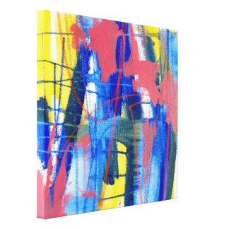 Abstract Painting Blue Pink Yellow 12x12 Canvas Gallery Wrapped Canvas Jessica Torrant