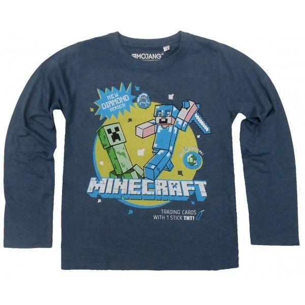 Miencraft langærmet t-shirt med Creeper og Steve i 100% bomuld